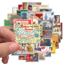 50 PCS Colorfull Originality World Retro Travel Stamps Stickers Cartoon Funny DIY Luggage Laptop Skateboard Guitar Appa Momo