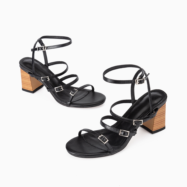 Donna in Narrow Straps Women Shoes Sandals Summer Natural Leather Sexy Thick High Heels Buckle