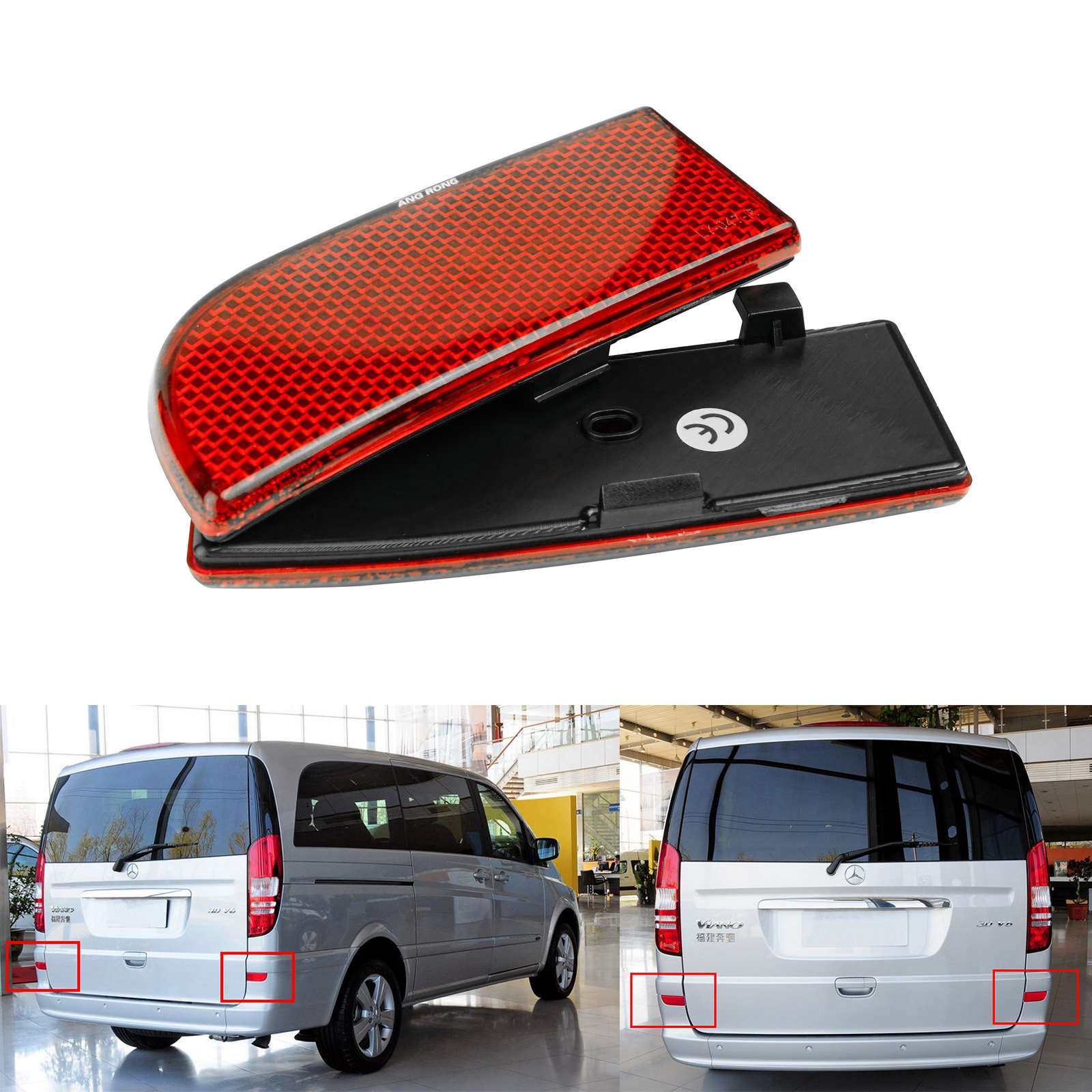 ANGRONG 2x Rear Bumper Reflector Red Lens New For Mercedes Benz W639 Vito Viano 2003-2014