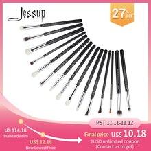 Jessup brochas de maquillaje, 15 Uds., negro/plateado, maquillaje profesional completo, delineador de ojos, definidor de sombras, Lápiz corrector de cejas, T177
