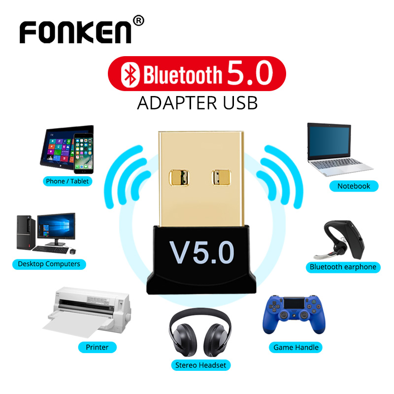 FONKEN Bluetooth 5.0 Receiver USB Wireless Bluetooth Adapter Audio Dongle Sender for PC Computer Laptop Earphone USB Transmitter image