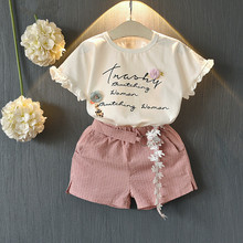 Girls Clothing Sets New Summer Cotton Vest Two-piece Kid Clothes Set Cartoon Children Clothing Toddler Girl Tops+Shorts 40 shein apricot appliques button top and shorts elegant girls clothing two piece set 2019 spring fashion vintage children clothes