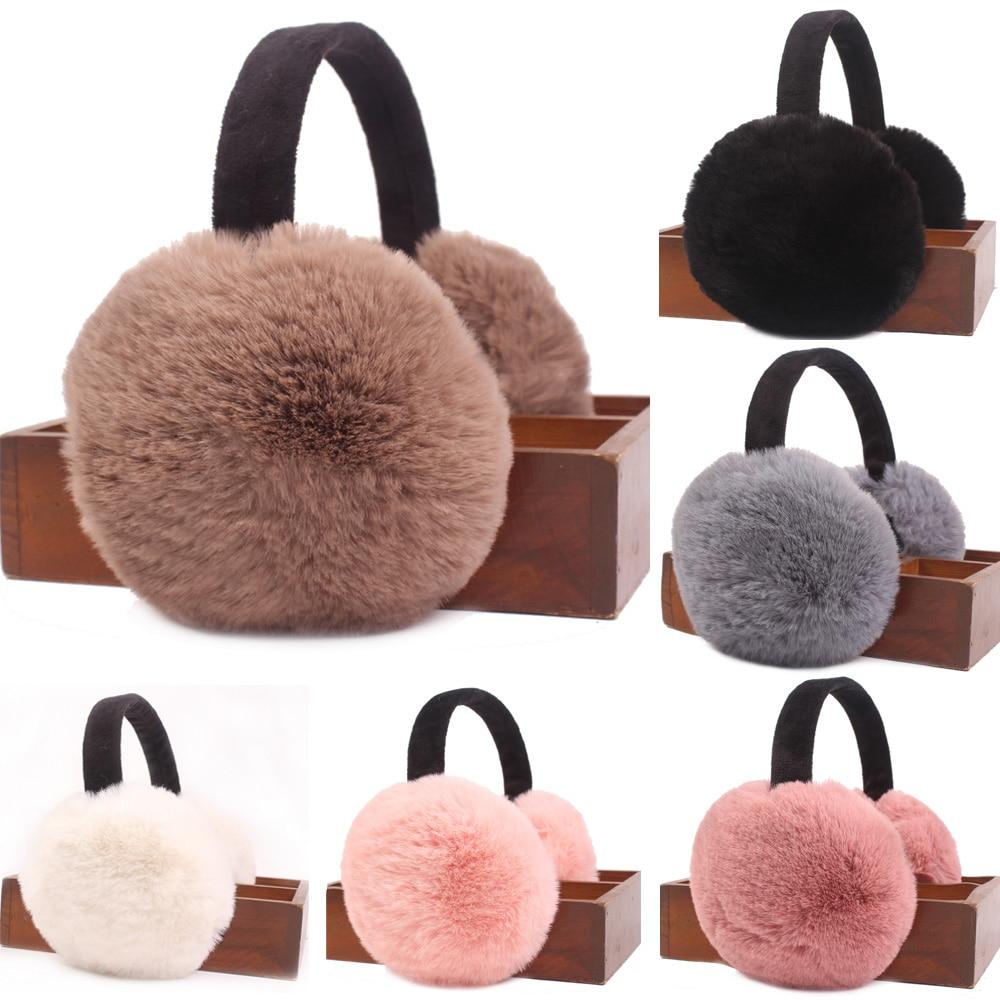 Women Ladies Soft Warmer Earmuffs Solid Color Winter Warm Ear Warmers Foldable HATCS0427