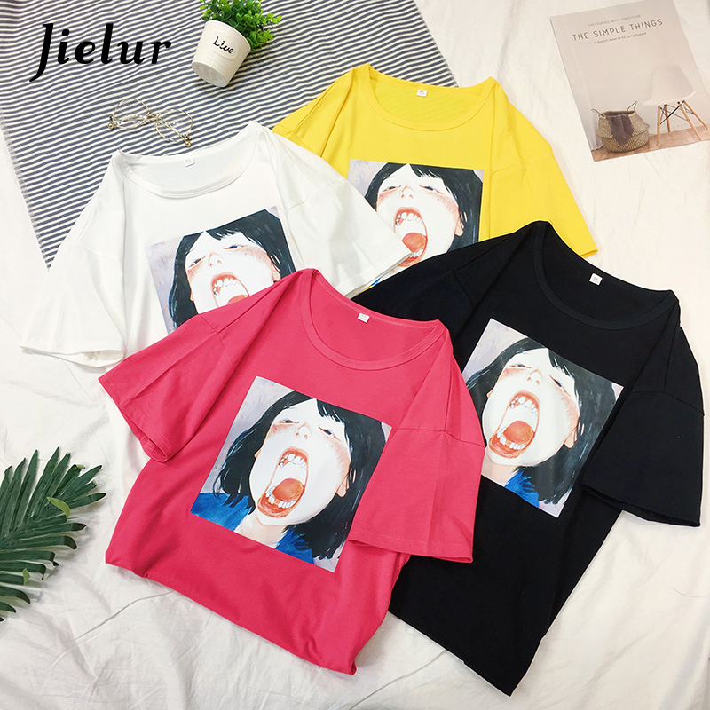 Jielur New Korean Print T-shirt Women Short Sleeve Love Casual Tee Shirts Hipster Funny Mujer T Summer Top M-2XL