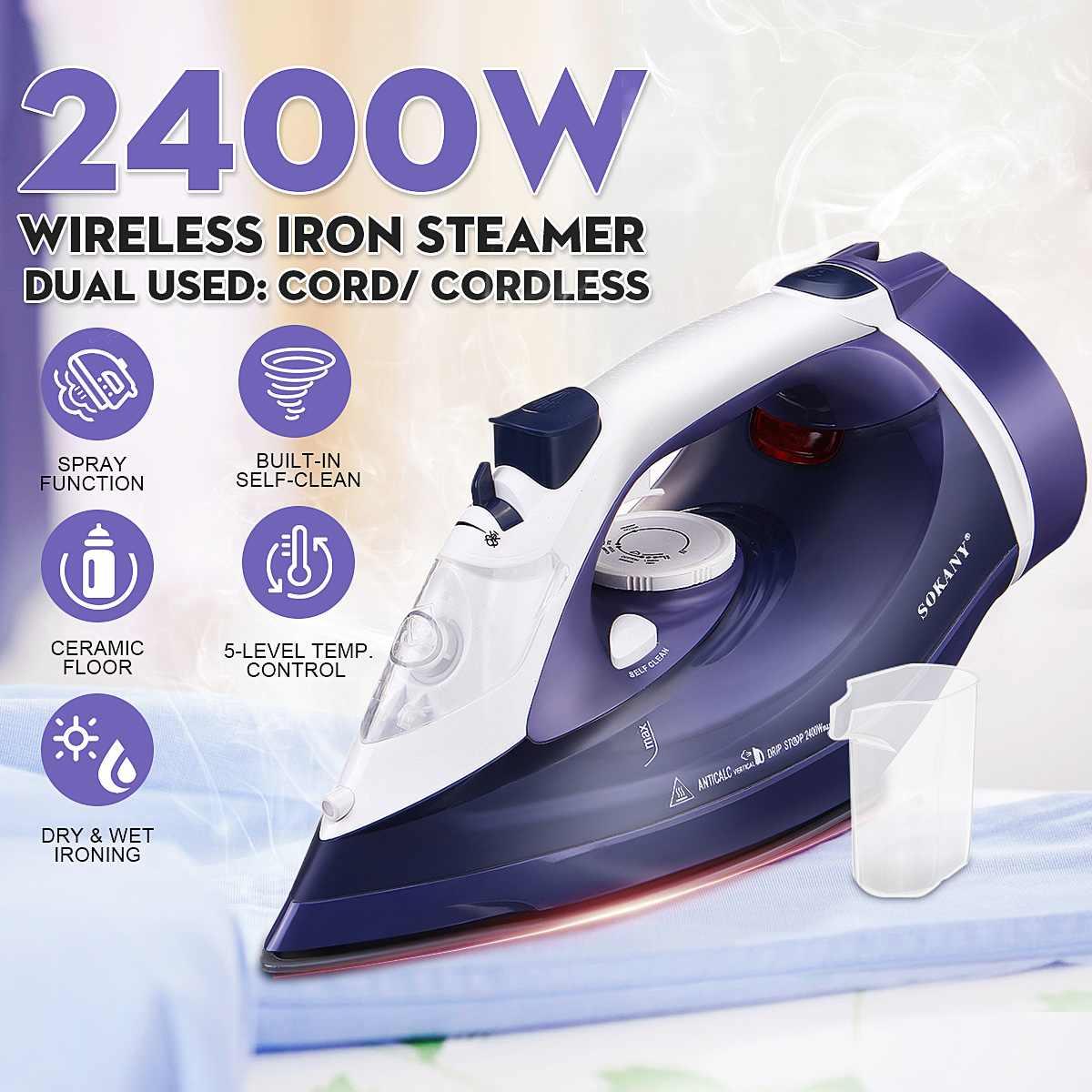2400W sans fil fer à vapeur sans fil rechargeable Spray fers à vapeur vêtements sec humide repassage vapeur contrôle de la température Anti-goutte