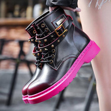 Rivet Autumn Genuine Leather Martin Boots Women Retro Mixed