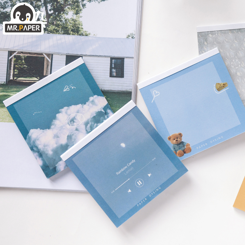 Mr.Paper 60pcs Cute Bear Animal Ins Series Color Loose Leaf Planner Memo Pads Minimalist Write Down Points Artsy Style Memo Pads