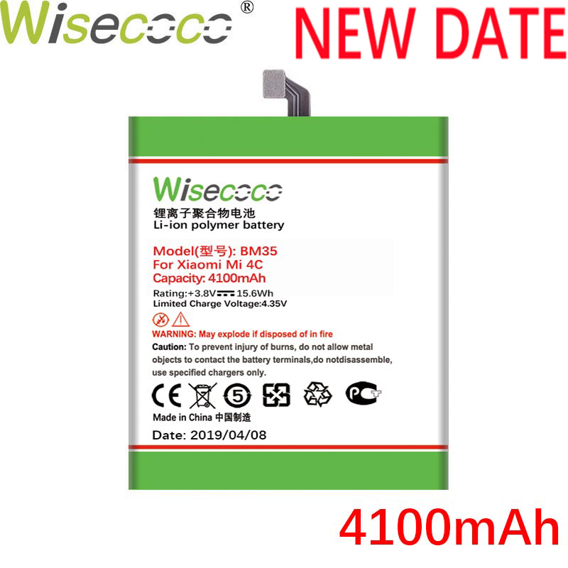 WISECOCO 4100mAh <font><b>BM35</b></font> <font><b>Battery</b></font> For <font><b>Xiaomi</b></font> Mi <font><b>4C</b></font> 4 C Smart Phone In Stock Latest Produce High Quality New <font><b>Battery</b></font>+Tracking Number image