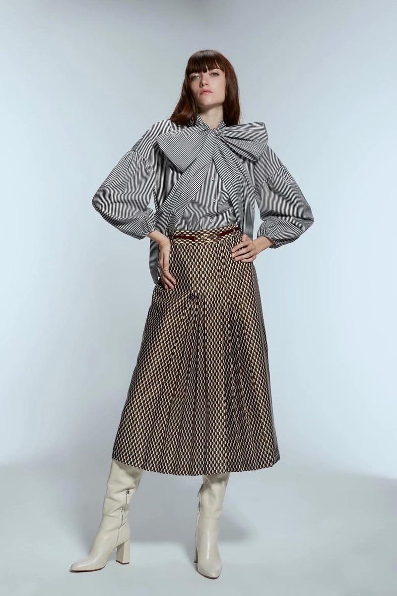 Модная длинная юбка с принтом, плиссированная юбка феи, свободная юбка с высокой талией, популярный принт, английский стиль, Moda Mujer, 2019