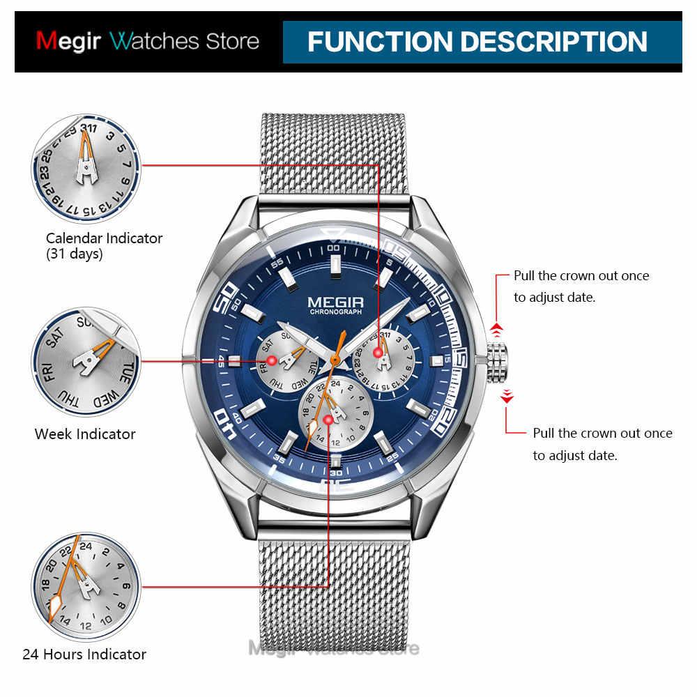 MEGIR-Relojes de pulsera para hombre, de cuarzo, de cuero, resistente al agua, con fecha y semana, 2020