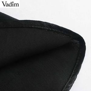 Image 5 - Vadim women chic ruffled black mini dress V neck elastic waist long sleeve party club fashion casual dresses vestidos QD054