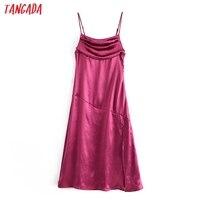 Tangada Women's Party Dress Satin Midi Dress Strap Adjust Sleeveless 2021 Fashion Lady Elegant Dresses QN42 1