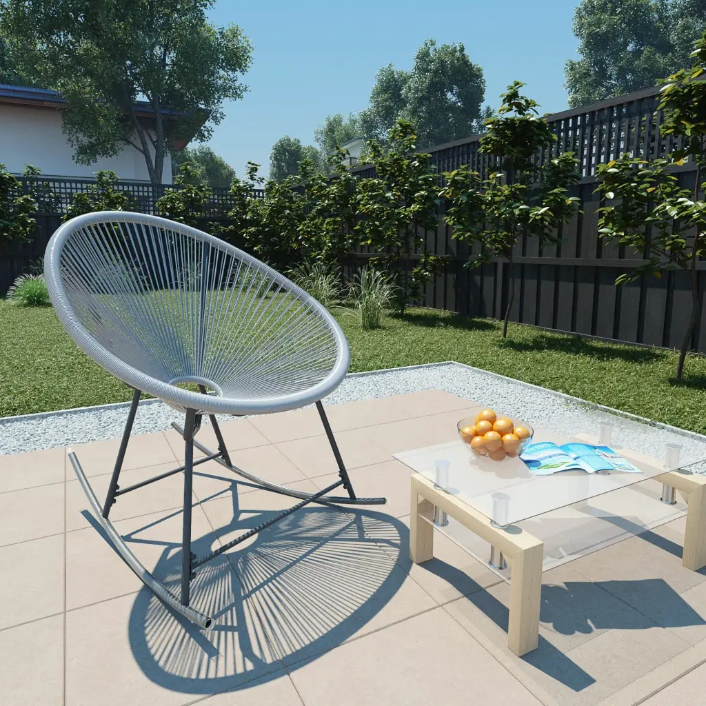 VidaXL Rocking Garden Moon Chair Poly Rattan Grey 44482 PE Rattan + Powder-Coated Steel Frame 72.5 X 77 X 90 Cm (W X D X H) V3