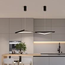 купить Black/White Modern LED Pendant Lights For Living Room Bedroom Dining Room Indoor Home Creative triangle Deco Pendant Lamp дешево