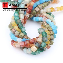 Natural Stone Dragon Veins Agates Unakite Amazonite Cube Spacer Square Beads For Jewelry Making DIY Bracelet Necklace 15 inch