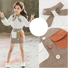 Children Back To School Outfit Girls Skirt Set Autumn Long Sleeve White Shirts and Pocket Plaid Suit Girls Two Piece Outfits