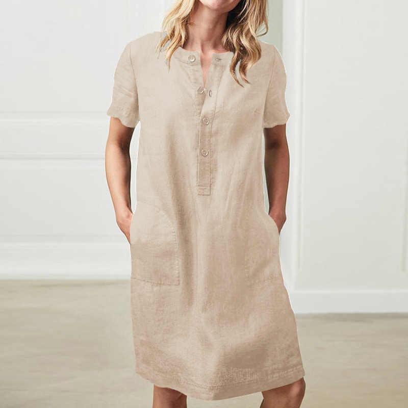 女性半袖ポケットミディドレスボタン固体プラスサイズ5XLドレス女性2020夏秋ヴィンテージストレート服