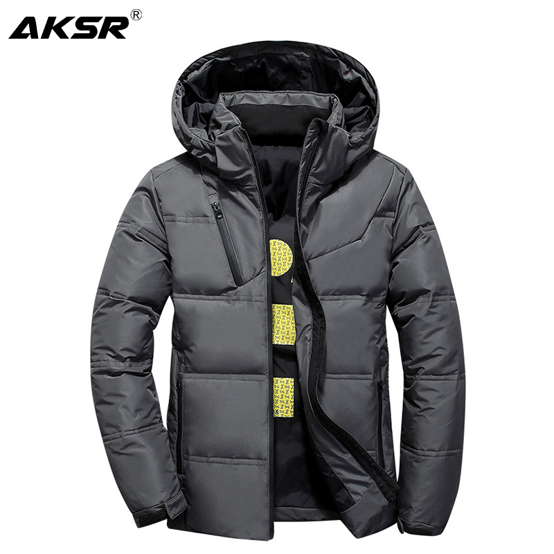 AKSR Men's Winter   Down   Jacket   Coat   White Duck   Down   Jackets with A Hood Thick Thermal Warm Outwear Puffy Jacket Doudoune Homme