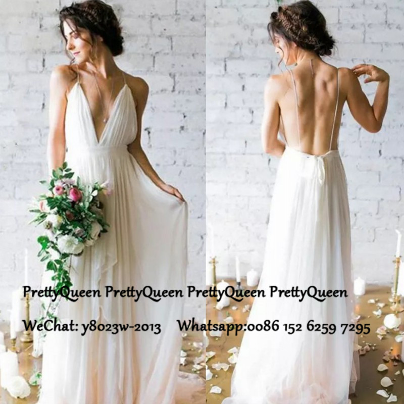 Sexy Backless Bohemia Wedding Dress 2020 Spaghetti Strap A Line White Tulle Long Formal Bridal Dresses Vestido De Noiva