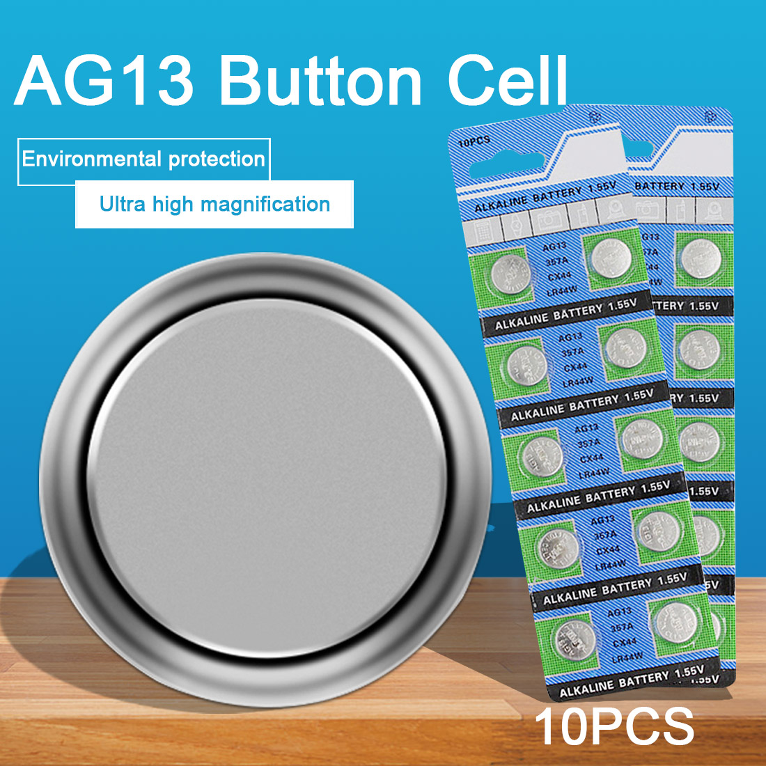 10PCS 1.55V AG13 Watch Battery 357A CX44 LR44W Coin Cell Alkaline Batteries for Toy Calculator Laser Pointer Clock Watch Cameras
