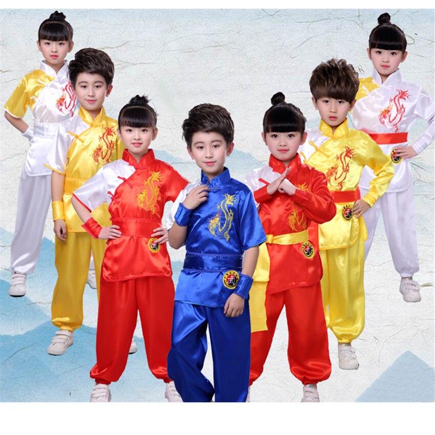 Traditional Chinese Clothing For Men Kids Embroidery Dragon Kung Fu Uniforms Oriental Children Tai Chi Wu Shu Shao Lin Costumes