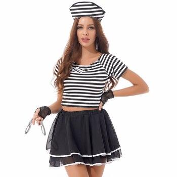 Sexy Halloween Prisoner Role Play Costume + Hand Cuffs 4