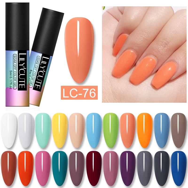 LILYCUTE Gel Nail Polish Hybrid Varnishes Spring Summer Color UV Gel Nail Polish Soak Off Long Lasting Nail Gel Base Top Coat