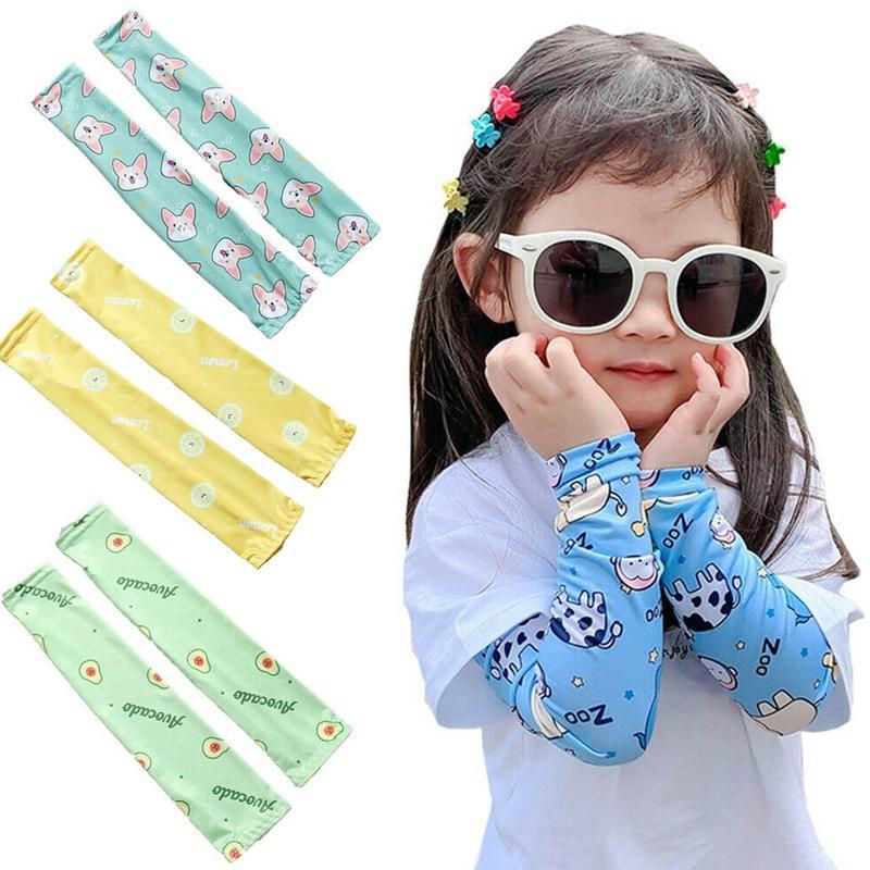 1pc Cute Printed Visor Sleeve Children Cartoon Ice Silk Sunscreen Sleeves Kids Outdoor Sports Uv Protection Quick Dry Arm Guard