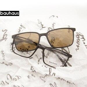 Image 1 - 2+1 lenes Magnet Sunglasses Clip Mirrored Clip on Sunglasses clip on glasses Men Polarized Custom Prescription Myopia x3179