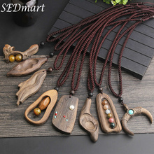 SEDmart Vintage Sandalwood Natural Stone Pendant Necklace for Women and Girls Long Sweater Chain Adjustable Jewelry GiftSouvenir vintage cross anchor sweater chain for women