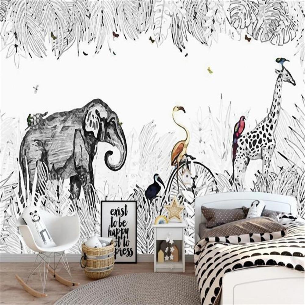 Milofi custom 3D simple hand-painted small fresh elephant giraffe European wallpaper mural TV background wall