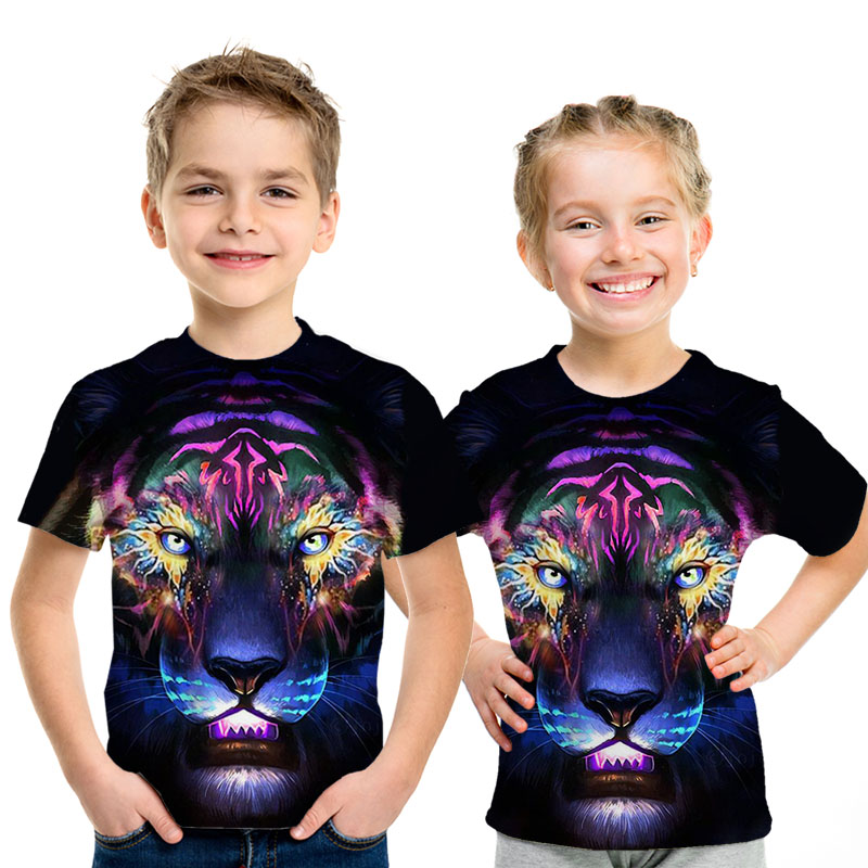 3D Printed Street Wear Lion King Children's T-shirt Summer Boys And Girls Glory Lion Animal Casual Short-sleeved Shirt Tops