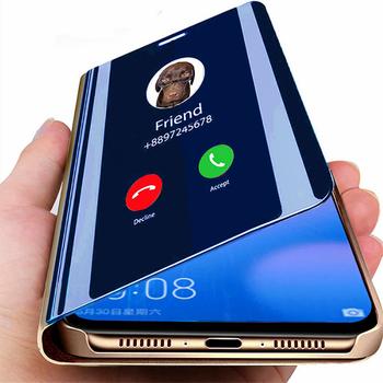Inteligentne lustro etui z klapką do Samsung Galaxy S9 S8 A50 A70 uwaga 8 9 10 S10 S10E Plus A20 A30 A6 A7 A8 A9 J4 J6 2018 Pro pokrywa tanie i dobre opinie GYKZ CN (pochodzenie) Clear View Mirror Smart Case Galaxy S8 Galaxy S8 Plus Galaxy S9 Plus Galaxy note 9 GALAXY S10 PLUS