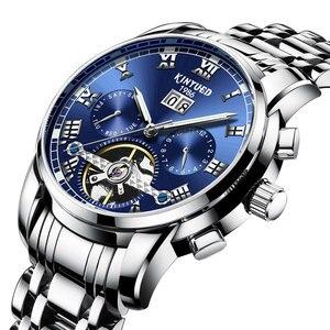 KINYUED синий турбийон стальные часы Мужские автоматические механические часы многофункциональные часы с календарем Мужские Водонепроницаем...