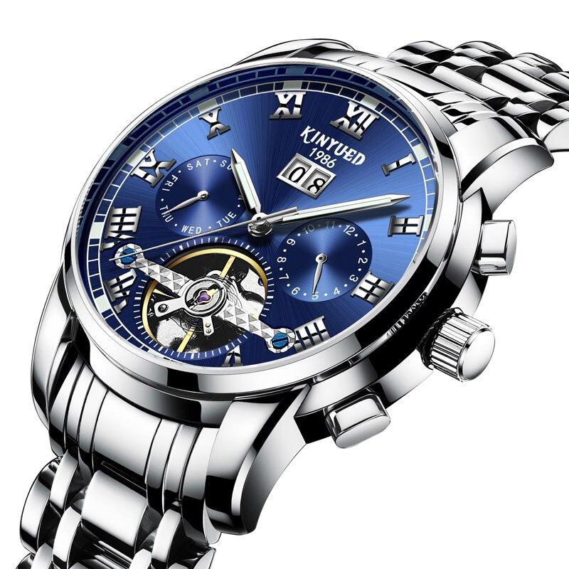 KINYUED bleu tourbillon acier montre mâle automatique mécanique montre multi-fonction calendrier montres hommes étanche horloge creux