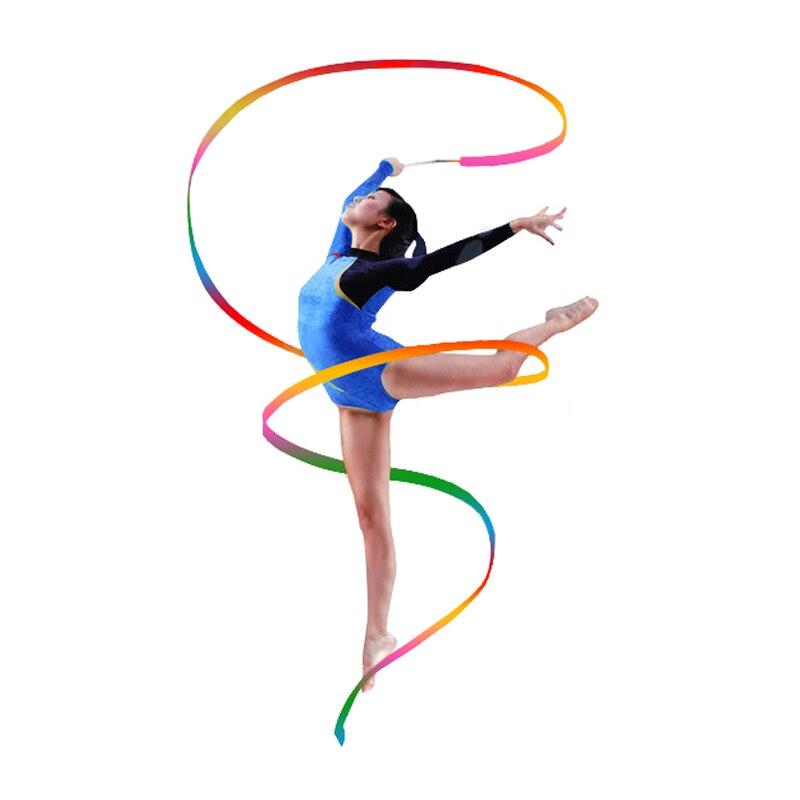 Bunte Dance Bänder Streamer Rhythmische Gymnastik Tanzen Band Zauberstab 4Meter