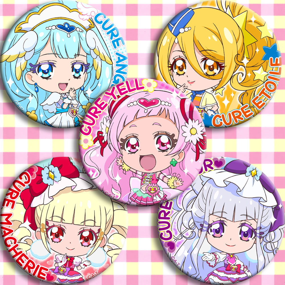 Japan Anime  Hugtto!Pretty Cure Cosplay Badge Cartoon Collection Bags Badges For Backpacks Button Clothes Brooch Pins Gifts