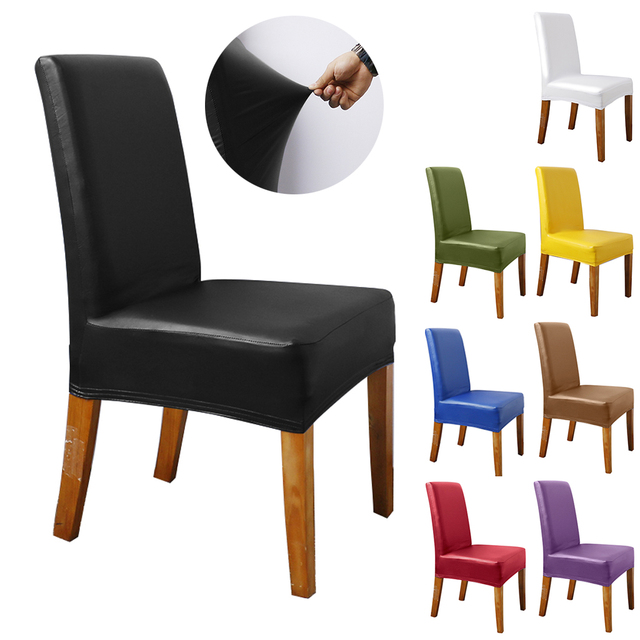 1/2/4/6/8/10 Pcs Waterproof Faux PU Stretchy Chair Cover Solid Elastic Home Party Decor Dining Room Seat Protector Slipcover D40 1