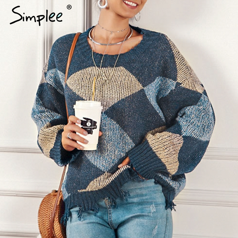 Simplee Patchwork Tassel Women Pullover Sweater Autumn Winter Long Sleeve Female Sweater O-neck Casual Ladies Jumper Sweater
