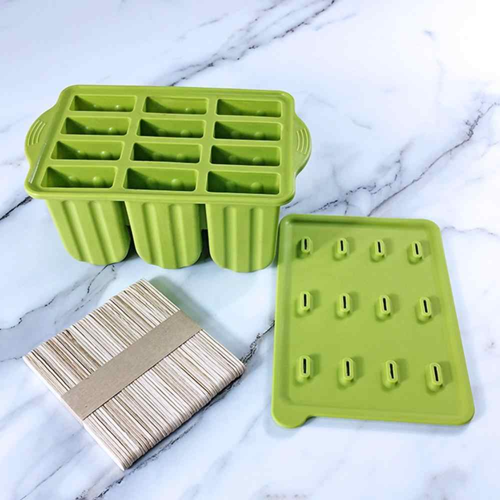 12 löcher Silikon Popsicle Mold Popsicle Sticks Form Für Ice Cube Tray Creme Mold Ice Cube Maker Umweltfreundliche Küche Gadgets