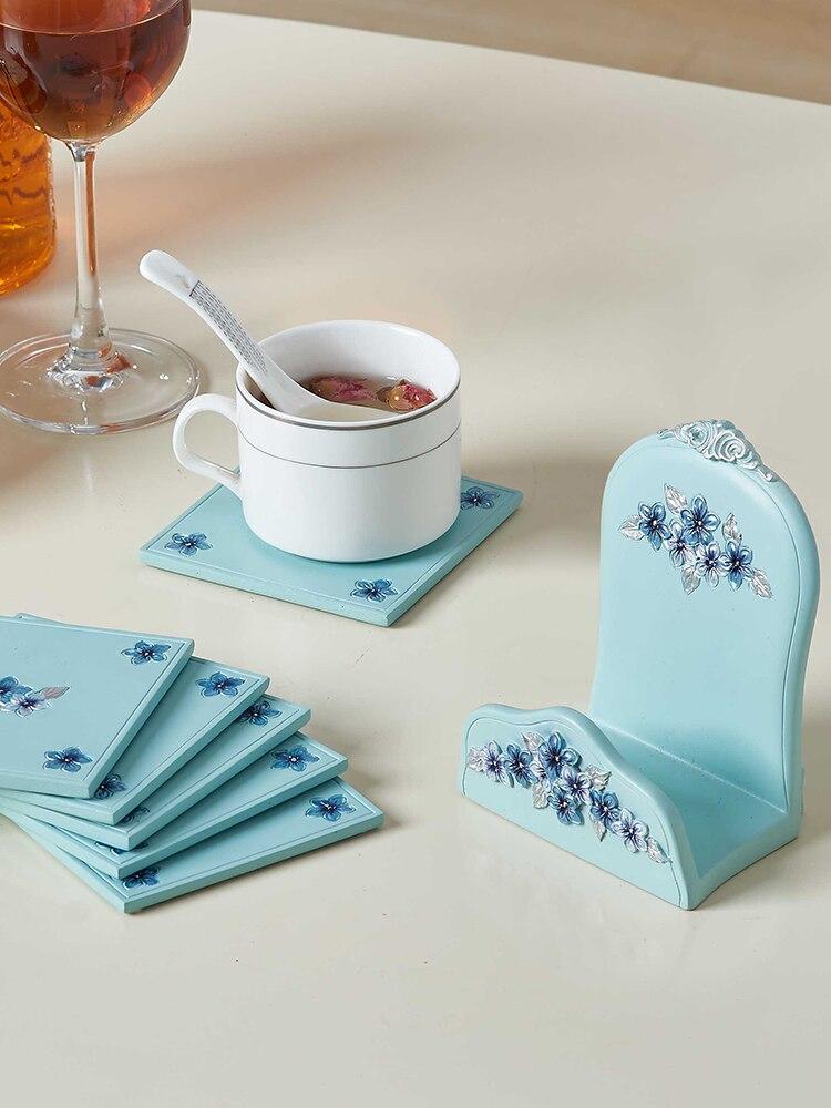 Креативная подставка для чайной церемонии в скандинавском стиле, милая Нескользящая чайная чашка из смолы, поддерживающая стол, теплоизоля...