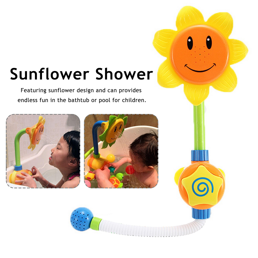 Bathing Tub Sunflower Shower Faucet Spray Water Swimming Bathroom Bath Toys For Children Baby Funny Water Game Bath Toy image