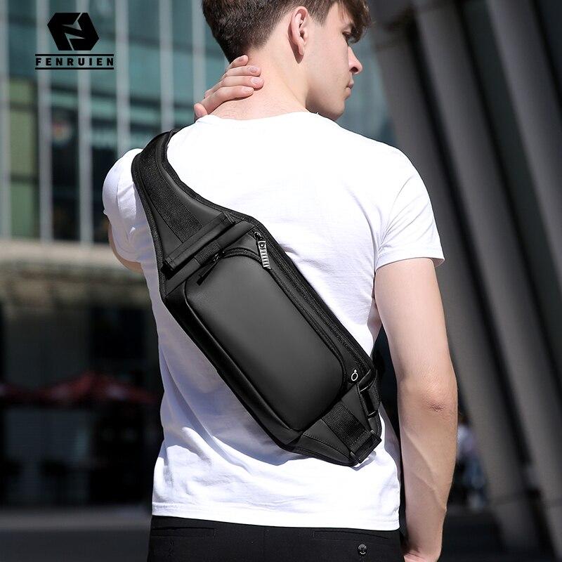 Fenruien New Multifunction Crossbody Bag For Men Waterproof Short Trip Shoulder Messenger Bags Chest Pack Simple Wear Resistant