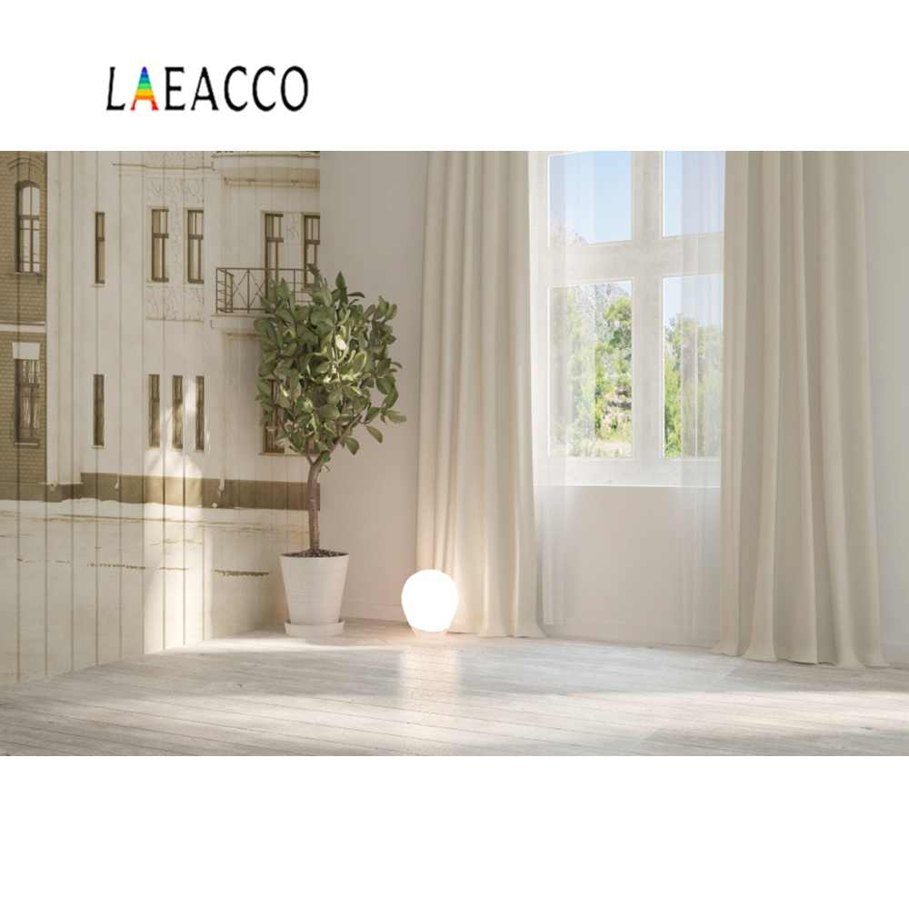 Laeacco House Window Mural Wooden Wall Floor Curtain Baby Child