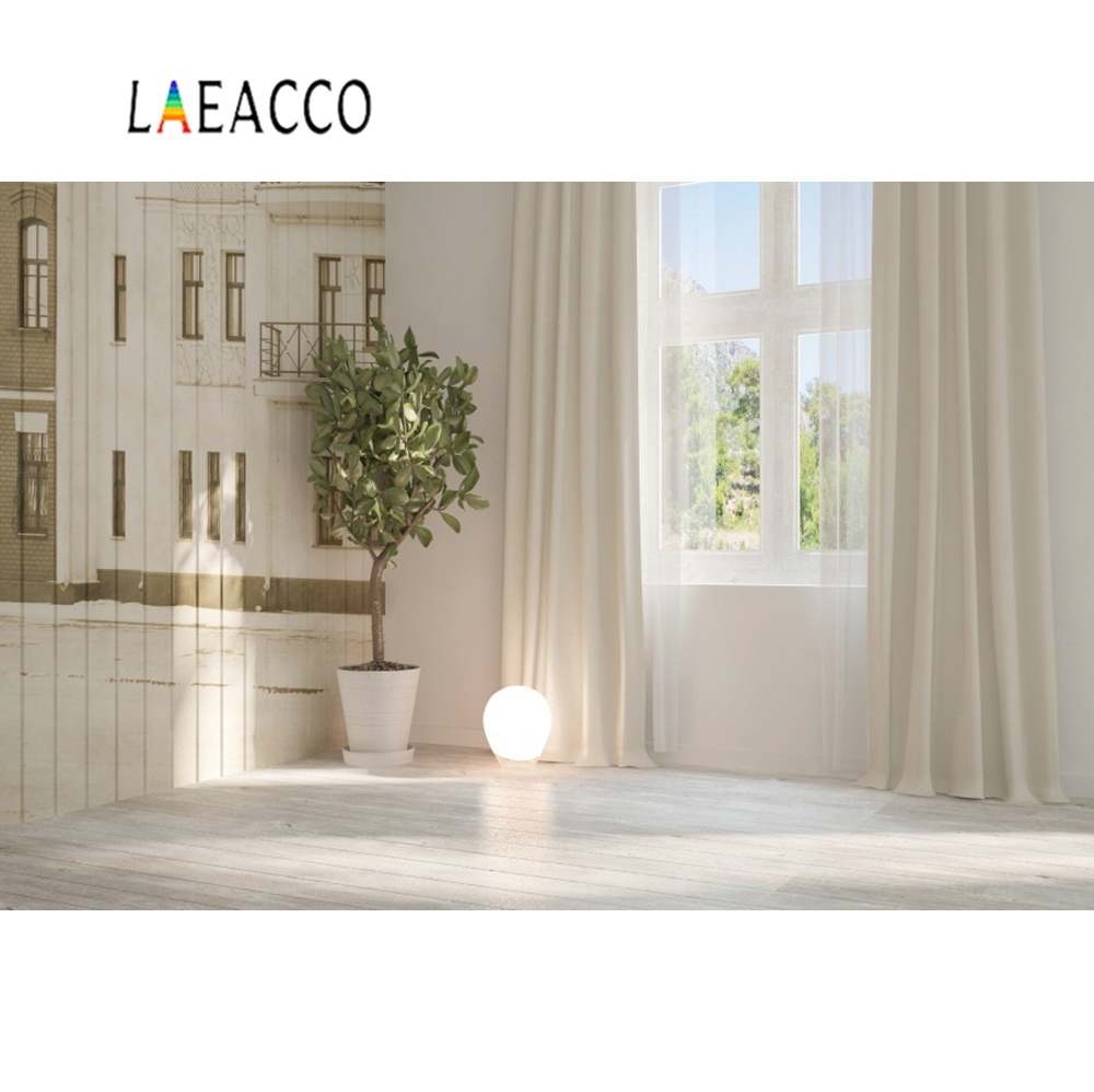 Laeacco House Window Mural Wooden Wall Floor Curtain Baby Child Interior Photo Background Photography Backdrops For Studio