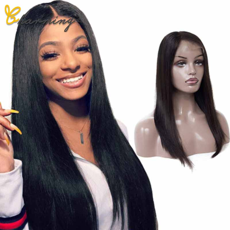 CHARMING 100% Brazilian Straight Human Lace Front Wigs Hair For Black Women 150% 4*4 Lace Pre-Plucked Hair With Natural Wig