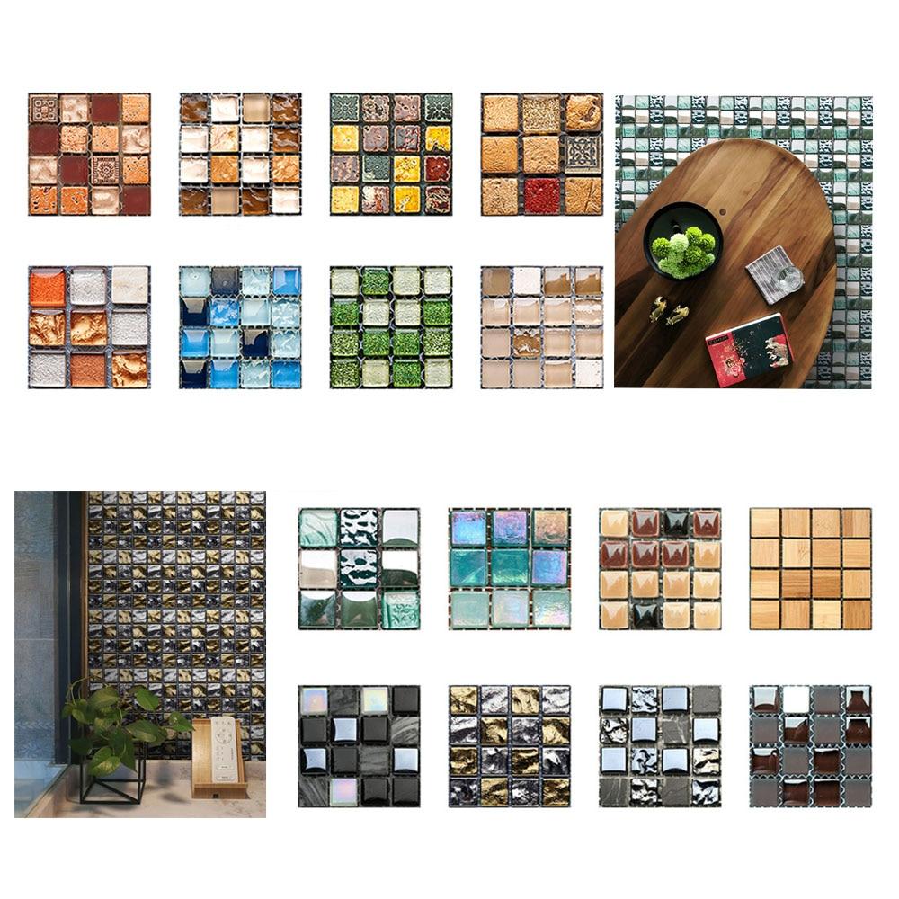 10/20pcs DIY Waterproof Self Adhesive 3D Wall Stickers Mosaic Tile Sticker Decal 10x10CM Bathroom Kitchen Wall Decoration