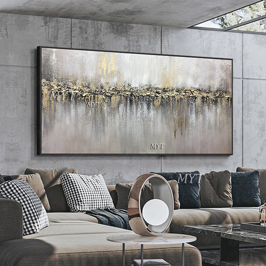 Abstract 3D Gold Thick Art Handmade Oil Painting Canvas Gold Paintings Wall Pictures Art Wall Artwork For Dining Room Decoration