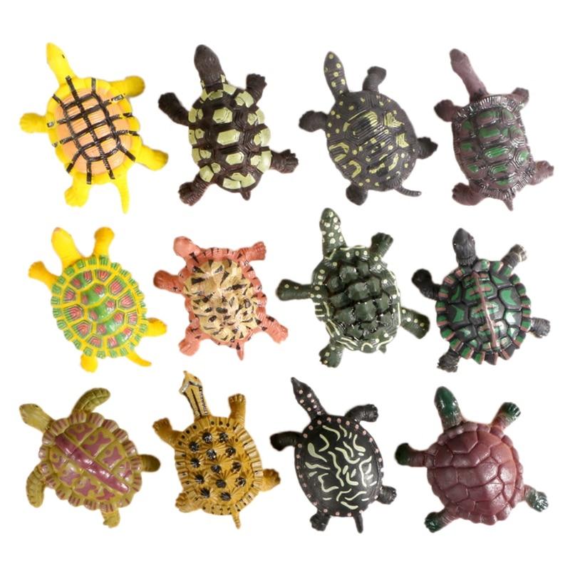 Mini Simulation Solid Turtle Model 12 Packs Wild Animal Vinyl Water Turtle Tortoise Decoration Toy Toys Aliexpress