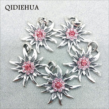 Alloy Edelweiss Pendant Tibetan Silver Multicolor Flowers Connector for Jewelry Making Necklace DIY Accessories Findings